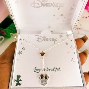 Disney Silver & Rose Gold Minnie Mouse Necklace
